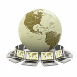 Internet. Global communication. Earth and laptop. 3d Stock Photo