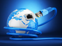Internet global comunication concept. Earth and ethernet cable o. N blue background. 3d Royalty Free Stock Photo