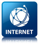 Internet (global network icon) blue square button Stock Photography