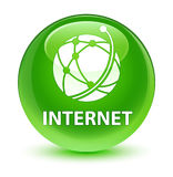 Internet (global network icon) glassy green round button Royalty Free Stock Image