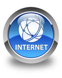Internet (global network icon) glossy blue round button Stock Images