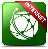 Internet global network icon green square button Royalty Free Stock Photography