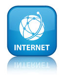 Internet (global network icon) special cyan blue square button Stock Photography