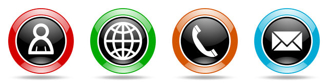 Internet glossy round icons set Stock Images