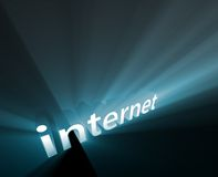 Internet glowing. Internet technology word graphic, with glowing light effects Stock Photos