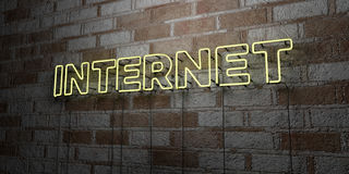INTERNET - Glowing Neon Sign on stonework wall - 3D rendered royalty free stock illustration Royalty Free Stock Photos