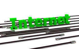 Internet - green label and many black cables. 3d Royalty Free Stock Photo