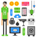 Internet hacker computer phishing malware viruses vector flat icons Royalty Free Stock Photo