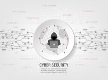 Internet hacker on protect world global network. Cyber Security Concept : internet hacker on protect world global network on binary code background Royalty Free Stock Photo