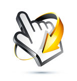 Internet Hand Cursor and Arrow. Three dimensional illustration of yellow rotating arrow around pointing hand cursor, isolated on white background Royalty Free Stock Images
