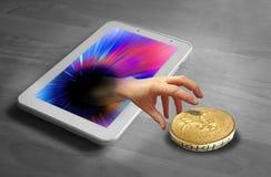 Internet hand theft Stock Photo