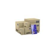 Internet-handel Goederen in dozen 3d illustratie op een witte backg Stock Afbeelding
