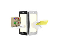 Internet-handel in uw telefoon 3d illustratie op een witte backgro Stock Afbeeldingen