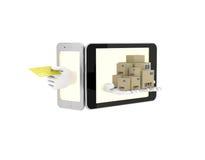 Internet-handel in uw telefoon 3d illustratie op een witte backgro Stock Fotografie