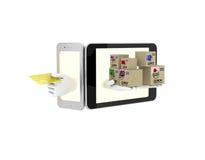 Internet-handel in uw telefoon 3d illustratie op een witte backgro Royalty-vrije Stock Afbeeldingen