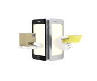 Internet-handel in uw telefoon 3d illustratie op een witte backgro Royalty-vrije Stock Fotografie