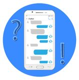Internet helper. Concept chatbot. Chat in the smartphone stock illustration