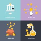 Internet-het bankwezen, maakt geld, sparen geld Stock Afbeeldingen