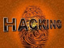 Internet-het Binnendringen in een beveiligd computersysteem vertegenwoordigt World Wide Web en Aanval Royalty-vrije Stock Foto