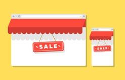 Internet-het winkelen browser malplaatjeconcept royalty-vrije illustratie