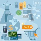 Internet-het winkelen de creditcards van de verkoopkortingen van het elektronische handelconcept Royalty-vrije Stock Fotografie