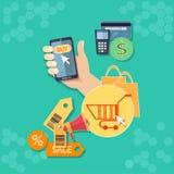 Internet-het winkelen de online opslag van het elektronische handelconcept Stock Foto