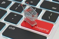 Internet-het winkelen en online aankopenconcept Stock Foto