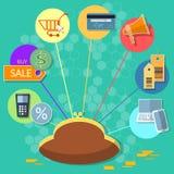 Internet-het winkelen het concept van de de creditcardselektronische handel van verkoopkortingen Royalty-vrije Stock Fotografie