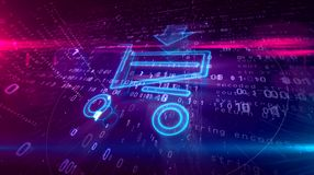 Internet-het winkelen pictogram met kar royalty-vrije illustratie