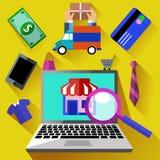 Internet-het winkelen proces en levering vector illustratie