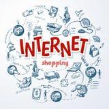 Internet-het Winkelen Schetsconcept Stock Foto