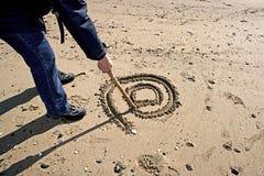 Internet in het zand Stock Afbeeldingen