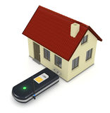 Internet at home. One usb internet key plugged into a small house, concept of home wireless connection (3d render Stock Photos