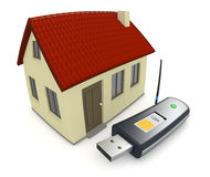 Internet at home. One usb internet key with a small house, concept of home wireless connection, fisheye effect (3d render Royalty Free Stock Photos