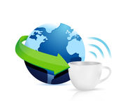 Internet hotspots coffee mug concept Stock Photo