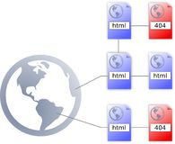 Internet html file icon, 404 icon and worldmap Royalty Free Stock Photo