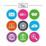 Internet, icônes de seo Liste de contrôle, signes de cible Photographie stock libre de droits