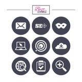 Internet, icônes de seo Liste de contrôle, signes de cible Photo libre de droits