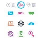 Internet, icônes de seo Liste de contrôle, signes de cible Image stock