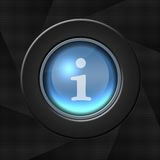 Internet icon. Blue icon with white i letter over aperture style background royalty free illustration