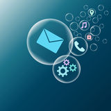 Internet icon in bubbles. On blue background Royalty Free Stock Images