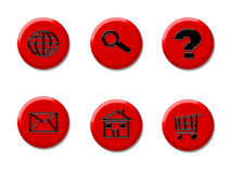 Internet Icon buttons. Illustration of red internet buttons with internet concepts Royalty Free Stock Image