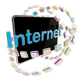 Internet icon emblem as a computer pad screen Stock Photography