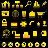 Internet icon set. General icons for web on black with reflection Royalty Free Stock Images