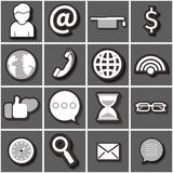 Internet icon set black white. Flat vector Stock Photo