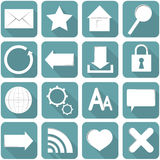 Internet Icon. A set of 16 different internet icons in blue Royalty Free Stock Photos