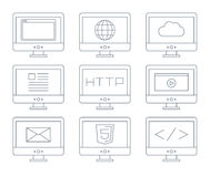 Internet icon set, simple flat grey line contour Royalty Free Stock Images