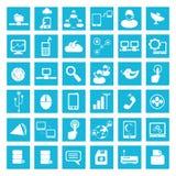 Internet, icone della rete sociale Immagine Stock Libera da Diritti
