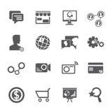 Internet, iconos sociales de la red Fotos de archivo