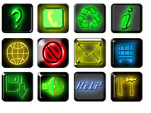 Internet Icons. A set of illustrated internet icons with a glowing effect Royalty Free Stock Images